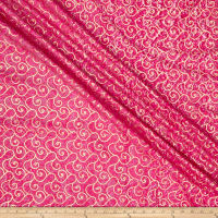 Indian Batik Montego Bay Gold Scroll Fuchsia