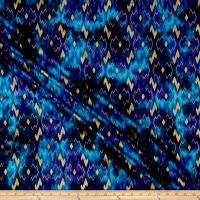 Indian Batik Montego Bay Gold Chevron Blue Metallic