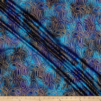 Indian Batik Montego Bay Gold Circles Blue Metallic