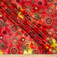 Indian Batik Odyssey Gold Sun Fuchsia Multi Metallic
