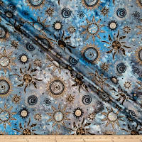 Indian Batik Odyssey Gold Sun Blue/Grey Metallic