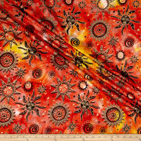 Indian Batik Odyssey Gold Sun Sunset Metallic