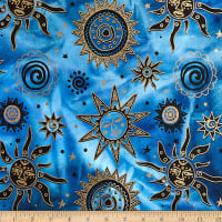 Indian Batik Odyssey Gold Sun Blue/Black Metallic