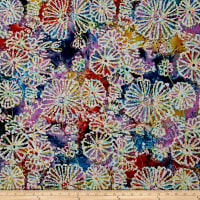 Indian Batik Embroidered Bright Mosaic Floral Blue/Purple