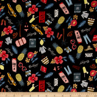 Cotton + Steel Rifle Paper Co. Les Fleurs Bon Voyage Black Metallic