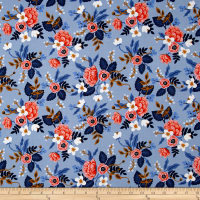 Cotton + Steel Rifle Paper Co. Les Fleurs Birch Periwinkle