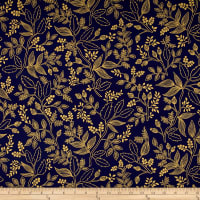 Cotton + Steel Rifle Paper Co. Les Fleurs Metallic Queen Anne Navy