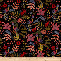 Cotton + Steel Rifle Paper Co. Les Fleurs Canvas Folk Birds Black