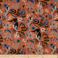 Cotton + Steel Rifle Paper Co. Les Fleurs Canvas Folk Birds Peach