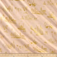 Cotton + Steel Rifle Paper Co. Les Fleurs Lawn Metallic City Toile Peach
