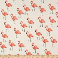 Cotton + Steel Rifle Paper Co. Les Fleurs Lawn Flamingoes Ivory