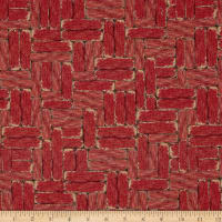 Mia Country Flock Digital Print Wood Block Red