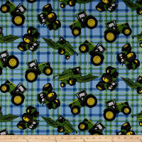 John Deere Tractors Plaid Blue