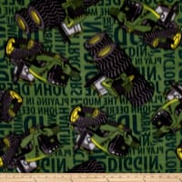 John Deere Fleece Tractors Words Green