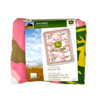 John Deere No Sew Fleece Kit Pink Camo Pink