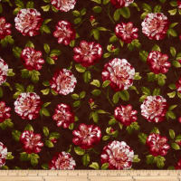 Romantic Afternoon Flannel Medium Floral Burgundy