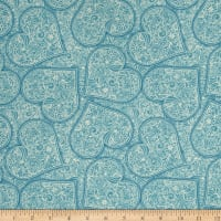 Garden Hideaway Heart Scroll Blue