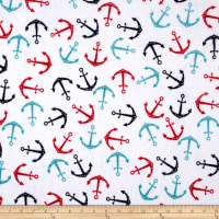 Shannon Minky Cuddle Anchors Teal/Scarlet