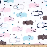 Shannon Robert Kaufman Minky Cuddle Happy Hippo Blush/Saltwater