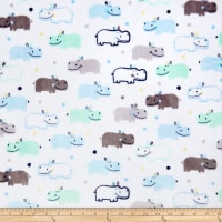 Shannon Kaufman Minky Cuddle Happy Hippo Baby Blue