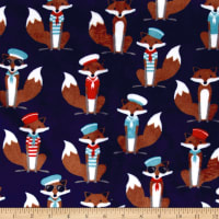 Shannon Kaufman Minky Cuddle Sailor Fox Navy