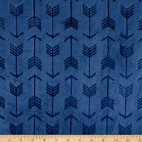 Shannon Minky Embossed Arrow Cuddle Navy