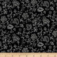 Marcus High Contrast Metallic Flowers Black