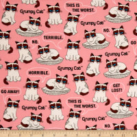 Marcus Grumpy Cat Flannel Resting Pink