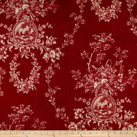 Waverly Country House Toile Red Linen
