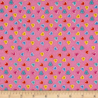 Flannel Heart Buttons Pink