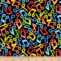 Timeless Treasures Rock Out Neon Music Notes Brite