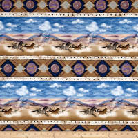 "Timeless Treasures Far And Away 11"" Horse Stripe Multi"