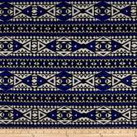 Rayon Jersey Knit Diamond Tribe - Blue/White
