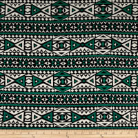 Rayon Jersey Knit Diamond Tribe - Green/White