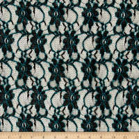 Flower Lace Black/Teal Trim