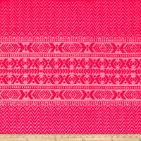 Stretch Crochet Lace Chevron Aztec Stripe Neon Pink
