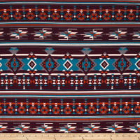 Stretch Poly Spandex Jersey Knit Tribal Medallion Diamonds Crimson/Ivory/Tangerine