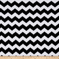 Stretch Poly Spandex Jersey Knit Black Chevron on White