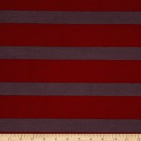 Stretch Poly Spandex Jersey Knit Horizontal Stripes Garnet/Purple