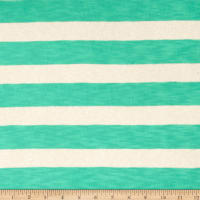 Lightweight Sweater Knit Sheer Mint Stripes on Ivory