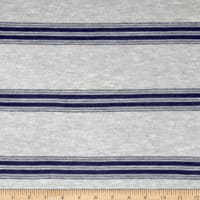 Lightweight Sweater Knit Navy Double Stripes on Gray