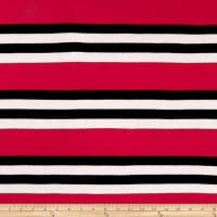 Jersey Knit Multi Stripes Hot Pink/Black/White