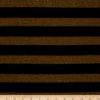 Lurex Sweater Knit Black Stripes over Sheer Gold