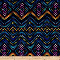 Lace Knit Geo Diamond and Chevron Blue/Lilac and Yellow