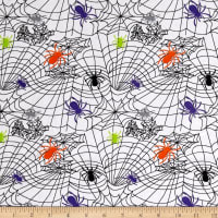 Fabric Merchants Cotton Spandex Jersey Knit Fear of Spiders Halloween White Multi