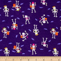 Cotton Spandex Jersey Knit Dancing Bones Halloween Purple Multi