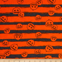 Fabric Merchants Cotton Spandex Jersey Knit Pumpkin Party Halloween Orange Grey