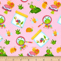 Bugs Flannel Tossed Bugs Pink
