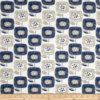 Cloud 9 Organic  Canvas Around the Block Big Blooms Navy