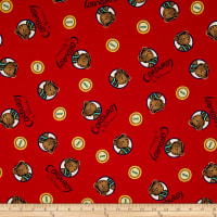 Cloud 9 Orangics Corduroy Bear Button Portrait Red